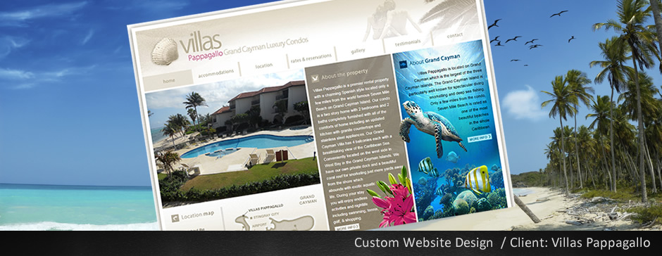 Custom Web Design for Villas Papagallo
