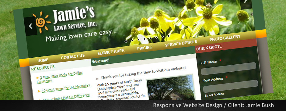 Custom Website for Jamies Lawn Service